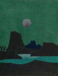 Kanamori Yoshio: Moonlit Landscape, Shôwa period, - Harvard Art Museum, woodcut