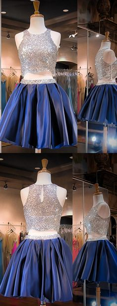 2016 homecoming dress, two piece homecoming dress, royal blue homecoming dress, sparkly homecoming dress, sequins homecoming dress, party dress