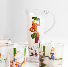 Hand painted 1950s Italian drinks set