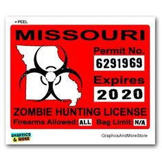 New york zombie hunting permit 4 sticker decal hunting for Missouri fishing license