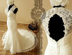 Romantic Lace Wedding Dress with Illusion Style by LaceMarry, $279.00
