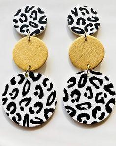 One of a Kind Hand Painted Earrings Diy Earrings, Polymer Clay Earrings, Crochet Earrings, Homemade Necklaces, African Earrings, White Leopard, Bijoux Diy, Clay Projects, Jewlery