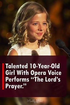 """A talented 10-year-old contestant shows off her phenomenal opera singing at the Dream With Me concert. Singing """"The Lord's Prayer,"""" Jackie Evancho brings soul and emotion to this classic Christian poem. #Hymn #Poem #Music #AmericasGotTalent America's Got Talent Videos, Christian Poems, Jackie Evancho, 10 Year Old Girl, Classically Trained, Opera Singers, The Voice, Singing, Prayers"""