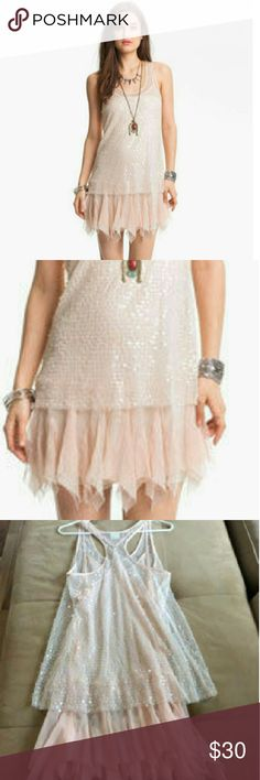 Free people intimately Free People Intimately sexy  sheer sequin mesh slip dress  Tunic pink color  Size x-small New with tags Free People Dresses