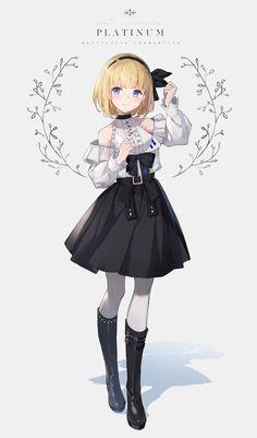 chicks with cold necks Anime Girl Dress, Manga Anime Girl, Anime Oc, Kawaii Anime Girl, Drawing Anime Clothes, Anime Girl Drawings, Cute Drawings, Pretty Anime Girl, Beautiful Anime Girl