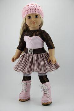 """American Girl doll clothes - Blossom style dress outfit w/ free hand crocheted hat (fits 18"""" doll) (450brn)"""