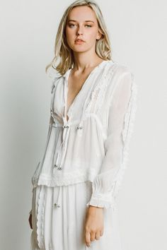 Chan Luu Providence Peasant Blouse in White