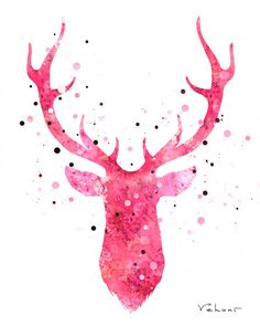 Deer Head 2  Pink  Archival Print from Original by FluidDiamondArt, $12.00