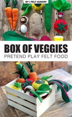 Felt Vegetables for pretend play. Kids will love cooking with this handmade box of veggies. It would make a fabulous addition to any toy kitchen and is a subtle, fun way to encourage healthy eating. By I Felt Hungry, available on ETSY (affiliate link) Handmade Shop, Handmade Gifts, Slime Recipe, Healthy Eating For Kids, Felt Food, Toy Kitchen, Play Food, Easy Crafts For Kids, Paper Toys
