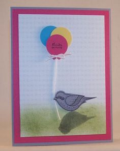 Bird Builder Punch and Tiny Tags ~ Stampin' Up! I love the bird holding the balloons... cute idea!