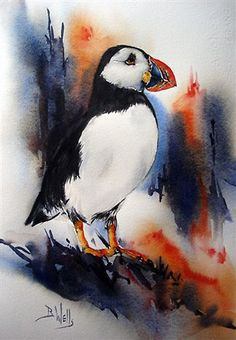 bev wells watercolours°°  Ooh, I need to paint a puffin, too!
