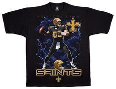 3aeacefc7 Liquid Blue NFL New Orleans Saints Quarterback Black T-Shirt Tee.  Officially Licensed NFL Graphic T-Shirt