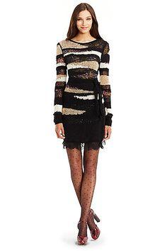 DVF Slash Back Embellished Knit Wrap Dress in Multi