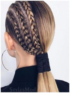 Half Braided Hairstyles, Box Braids Hairstyles, Cool Hairstyles, Hairstyles Videos, Party Hairstyles, Sleek Ponytail, Braided Ponytail, Topknot Bun, Curly Hair Styles