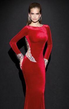 Beaded High Neckline Velvet Gown by Tarik Ediz 92500