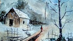How to Watercolor: Painting Tutorial of a Snow Street | Paint with david |