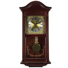 Bedford Clock Collection Mahogany Cherry Wood 22 Wall Clock with Pendulum and Chimes This exquisite wall clock features a mahogany cherry oak finish case. Rich and deeply colored it is timeless and. Tabletop Clocks, Wood Clocks, Chiming Wall Clocks, Pendulum Wall Clock, Clock Wall, Clock Decor, Wood And Metal, Wood Wall, Wall Décor