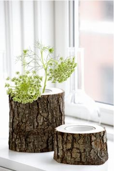Flower pots out of stumps.   I can't wait to cut down a tree so I can put a flower in it! Seriously though, these are cute.