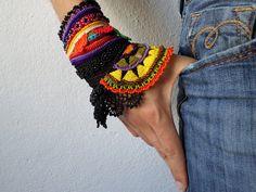 freeform crochet cuff  Gloriosa Superba by irregularexpressions