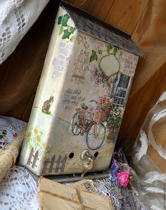 """Купить Ящик почтовый """"Домик в  Провансе"""" - бежевый, велосипед, прованс, прованский стиль, дача Decoupage, Painted Mailboxes, Handicraft, Decorative Boxes, Letters, Home Decor, Mailbox Post, Ideas, Mail Boxes"""
