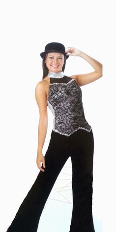 MY ALL Flocked Vest/Top & Velvet Pants Dance Costume Adults Small,Medium,Large #Leos