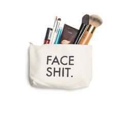 """Hold all of your face shit in this off-white canvas makeup pouch.  Hand-painted by yours truly.  5"""" x 8""""  *PLEASE ALLOW UP TO 2-3 WEEKS FOR YOUR POUCH TO SHIP*"""