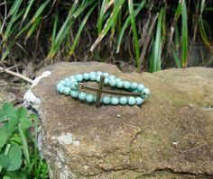 Bronze Cross & Turquoise  2 Piece Stretch Bracelet $6.00 BR168