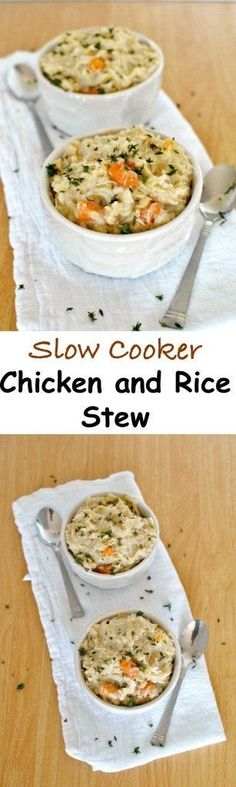 Slow Cooker Chicken and Rice Stew is what the doctor ordered. Comforting, very easy and full of healthy ingredients; the patient will feel better in no time. | Becky's Best Bites