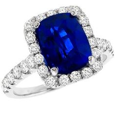 Vintage 4.00ct Cushion Cut Ceylon Sapphire 1.00ct Round Cut Diamond 18k White Gold Engagement Ring - See more at: http://www.newyorkestatejewelry.com/engagement-rings/estate-4.00ct-sapphire-1.00ct-diamond-ring-/24854/3/item#sthash.DgV2Q6Nv.dpuf
