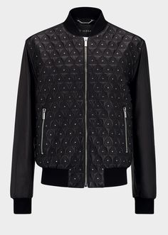 Versace Triangle Leather Bomber Jacket for Men   Official Website. The classic Versace bomber jacket gets a new look with quilted triangle embroidered and hand placed decorative studs on front, giving a new edge.