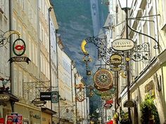 Oh beautiful signs! The Getreidegasse is the main shopping street in the old part of Salzburg. Oh Beautiful, Shopping Street, Old Signs, Street Signs, Salzburg, Personal Photo, Photos, Painting, Travel