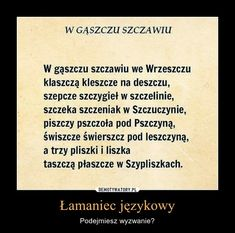 Polish Language, Languages, Good To Know, Cards Against Humanity, School, Quotes, Speech Language Therapy, Polish, Language