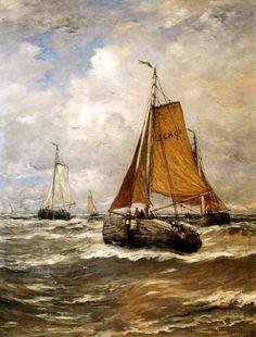 Hendrik Willem Mesdag (1831-1915) Bomschuiten keren terug van de vangst.