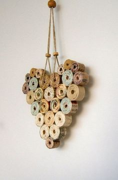 Recycled Paper Heart 4x4 Neutral/Natural Shades by BlueTangDesigns,