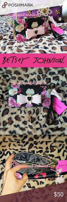"""🌸 BETSEY JOHNSON Floral Wristlet Wallet PINK Bow BRAND NEW WITH TAGS! Beautiful floral wristlet wallet from Betsey Johnson. Triple compartment design. Detachable wristlet strap. FAUX LEATHER. Measures 8.5""""Lx4.5""""H Standard size wallet 🌸😻💋 Betsey Johnson Bags Wallets"""