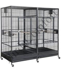 Features:- Bar Spacing: 1.22 ' '- Inside Height: 66 ' '- Weight: 286 lbs- Bar Thickness: 1/5 ' '- Dimensions: 80 ' ' height, by 80 ' ' length, by 40 ' ' depthIncludes:- 4 feeder doors- 2 slide-out trays- 2 breeder doors- 2 slide-out grates- removable divider- 6 easy-gliding casters- 4 stainless steel dishes- 2 straight pine perches- 2 large front doors with steel locking latch- Non-toxic finish, Made from Iron-Wrought Steel- Beautiful baked...