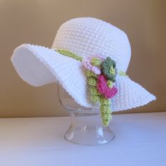 CROCHET PATTERN - Spring Garden - a spring/summer hat with flowers in 6 sizes (Infant - Adult S). $5.50, via Etsy.
