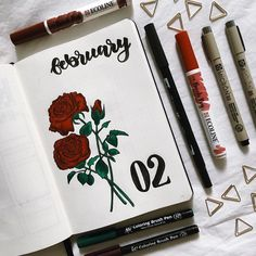 Bullet journal monthly cover page, February cover page, rose drawing, flower dra. Bullet journal m February Bullet Journal, Bullet Journal Monthly Spread, Bullet Journal Cover Page, Bullet Journal Mood, Bullet Journal Themes, Bullet Journal Layout, Bullet Journal Inspiration, Journal Ideas, Bullet Journal Months