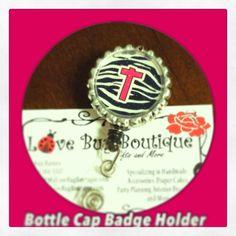 Bottle Cap Badge Holder. Place your custom orders today! www.mylovebugboutique.com