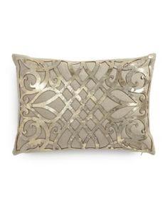 Callisto Home - Charlotte Laser-Cut Leather Overlay Linen Pillow Linen Pillows, Decorative Pillows, Cowhide Decor, Embroidery 3d, Laser Cut Patterns, Colourful Living Room, Laser Cut Leather, Leather Pillow, Cutwork
