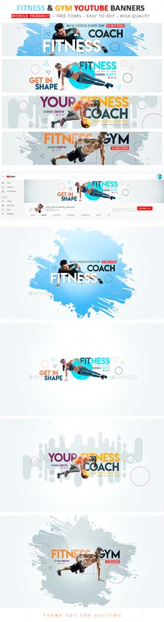 Fitness & Gym YouTube Banner - YouTube Social Media