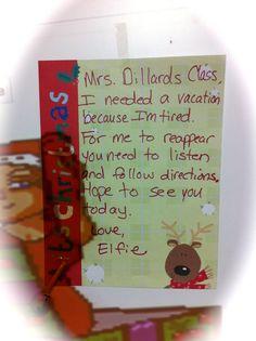 Seusstastic Classroom Inspirations: Elf on the Shelf Classroom Ideas!.... Maybe something else for year round use Preschool Christmas, Christmas Elf, Christmas Activities, Winter Activities, Christmas Ideas, Classroom Crafts, Classroom Fun, The Elf, Elf On The Shelf