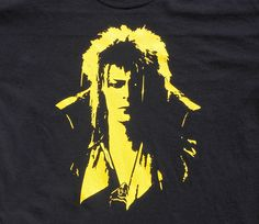 Labyrinth Goblin King t-shirt, Jareth by SausageWorks on Etsy https://www.etsy.com/listing/204067044/labyrinth-goblin-king-t-shirt-jareth