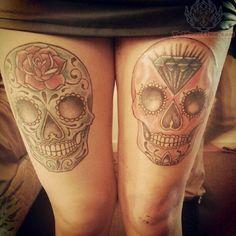 sugar skull diamond tattoos by adam zulu tattoo día de los