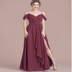2018 V-Neck off-the-shoulder straps Wine Chiffon Split Side Popular Newest Prom Dresses, Fashion Gown.PDY0170