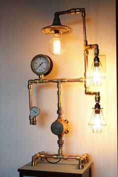 Copper and Brass Steampunk Lamp Steam Gauge by InGeNewLightingCo, $1500.00