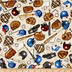 Baseball Equipment on Cream Fabric / Baseball Fabric / Quilting Treasures 24909 - E / Grand Slam Baseball Fabric  / Fat Quarters and Yardage by SewWhatQuiltShop on Etsy