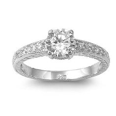 Sterling Silver Engagement Promise Ring with Round Clear Cubic Zirconia & Clear CZ Stones