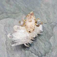 Morganite Slice with Diamonds Engagement Ring