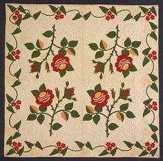 Moss Rose by Susan Black Stayman  Made in 1853 according to family history.  Collection of the Spencer Museum of Art at the University of Kansas  Gift of Miss Mary Stayman
